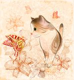 little  kitten, flowers and butterflies Royalty Free Stock Images