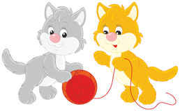 Little kittens playing. Vector illustration of two small kittens with a red clew of yarn Royalty Free Stock Image