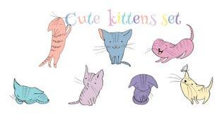 Little kittens set Stock Photography