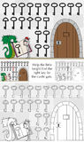Little knight puzzle. Illustrated puzzle for kids - help little knight find the right key for the castle gate Stock Photography
