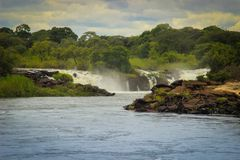 Little known beautiful.Ngonye Falls on the Zambezi River in Western Zambia near the city of Sioma. And a few hundred kilometers upstream from the Victoria Falls royalty free stock photography