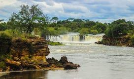 Little known beautiful.Ngonye Falls on the Zambezi River in Western Zambia near the city of Sioma stock photos