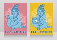 Little Krishna with the flute on the greeting cards for happy janmashtami. Vector illustration Royalty Free Stock Images