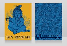 Little Krishna with the flute on the greeting cards for happy janmashtami. Vector illustration Stock Photos