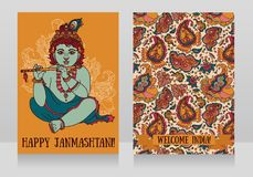 Little Krishna with the flute on the greeting cards for happy janmashtami. Vector illustration Stock Images