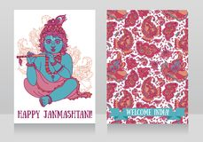 Little Krishna with the flute on the greeting cards for happy janmashtami. Vector illustration Stock Image