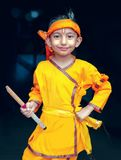 Little Krishna-kanhaiya-Portrait holding flute in hand royalty free stock images
