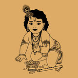 Little Krishna with plate Stock Photography