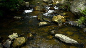 Little La Miel river flowing. River in Algeciras, Spain. Quiet flow between rocks and plants. Relaxing stock footage
