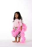 Little lady. Cute little girl with pink boa Stock Photo