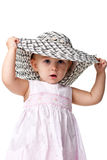 Little lady in a big bonnet Stock Images