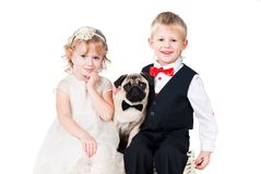Little lady and gentlemen with dog isolated Royalty Free Stock Photo