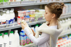 Little Lady Grocery Shopping In Supermarket Stock Photos