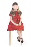 Little lady in red dress Royalty Free Stock Image