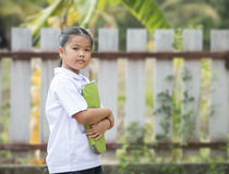 Little lady in student suit Stock Photo