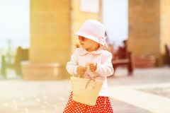 Little lady travelling in the city of Europe Royalty Free Stock Photography