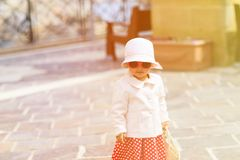 Little lady travelling in the city of Europe Stock Photography