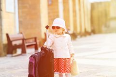 Little lady travelling in the city of Europe Royalty Free Stock Image