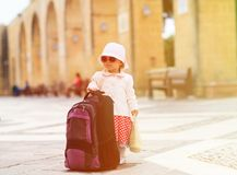 Little lady travelling in the city of Europe Stock Photo