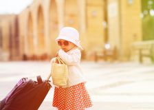 Little lady travelling in the city of Europe Stock Image