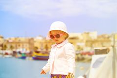 Little lady travelling in Malta, Europe Royalty Free Stock Photos