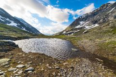 Little lake at high altitude in the Alps Stock Images