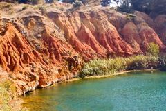 Lake near a quarry of bauxite, Italy Royalty Free Stock Photo