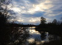 Dam in and beautiful cloudy sky in evening Royalty Free Stock Images