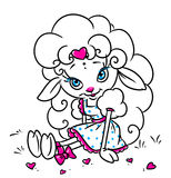 Little lamb valentine love card Stock Photo