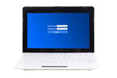 Little laptop with login and password panel on screen isolated o Stock Photo