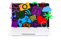 Little laptop with media icons on screen isolated on white stock photo
