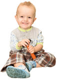 The little laughing boy with a toy hammer, on a white background Royalty Free Stock Image