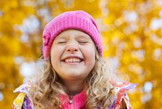 Little child at autumn Stock Image