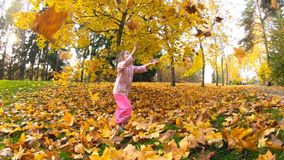 Little laughing pretty girl throws yellow leaves in autumn park stock video footage