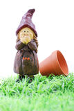 Little Lawn Gnome. Lawn Gnome In Grass With Pot Royalty Free Stock Photography