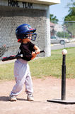 Little league. Five year old boy,hitting ball in a tee-ball game Stock Photos