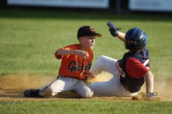 Little league Baseball Game Action. Being played in Central New Jersey in the East Coast of the United States stock image