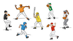 Little League Baseball Players. This illustration shows several young boys playing little league baseball. One boy is about to swing a bat, one youth is running Stock Photo