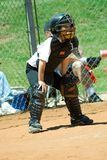 Little League Catcher. Young boy playing his position on the baseball field Royalty Free Stock Photos