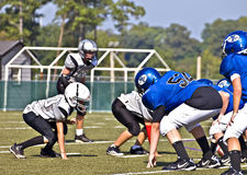 Little League Football Line of Scrimmage Royalty Free Stock Photo