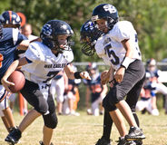 Little League Football Making a Play Royalty Free Stock Images