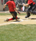 Little league play at homeplate Royalty Free Stock Photography