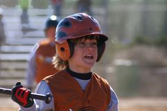 Little League Player. Batter in little league baseball game Royalty Free Stock Photography