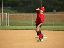 Little league second baseman Stock Image
