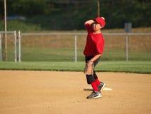 Little league second baseman stock image