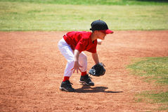 Little league short stop. In ready position Royalty Free Stock Photo