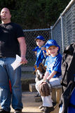 Little League  team on the bench. Stock Photo