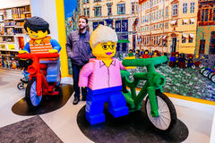 Little Lego men in human scale made of a lot of Lego bricks in Copenhagen, Denmark Royalty Free Stock Photos