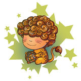 Little Leo. Vector illustration of Leo zodiac sign Royalty Free Stock Photo