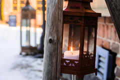 Little Light In A Lantern. An old lantern at the museum area in the middle of the town at Jyvaskyla, Finland stock image